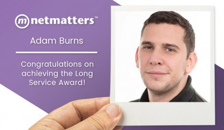 Adam Burns, Senior IT Support Technician at Netmatters Celebrates the long service award