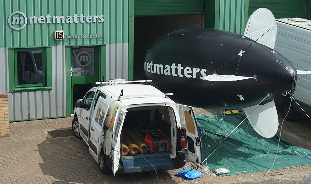 The Netmatters blimp ready to launch