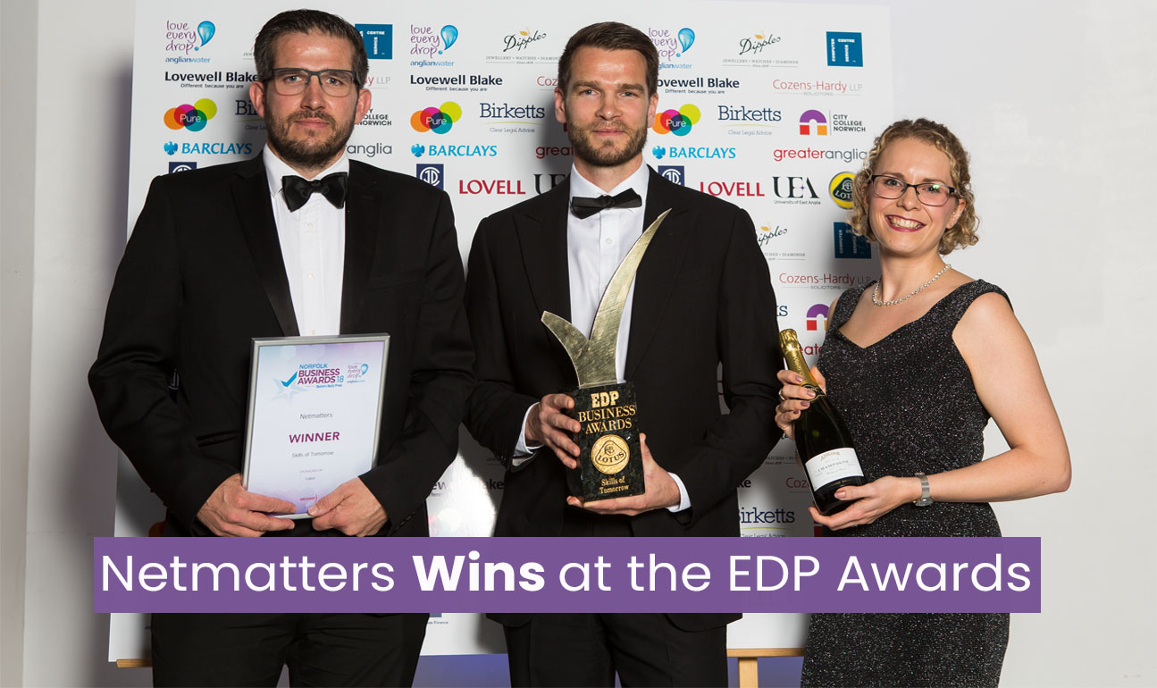 Managing directors of Netmatters with the Eastern Daily Press Skills of Tomorrow Award
