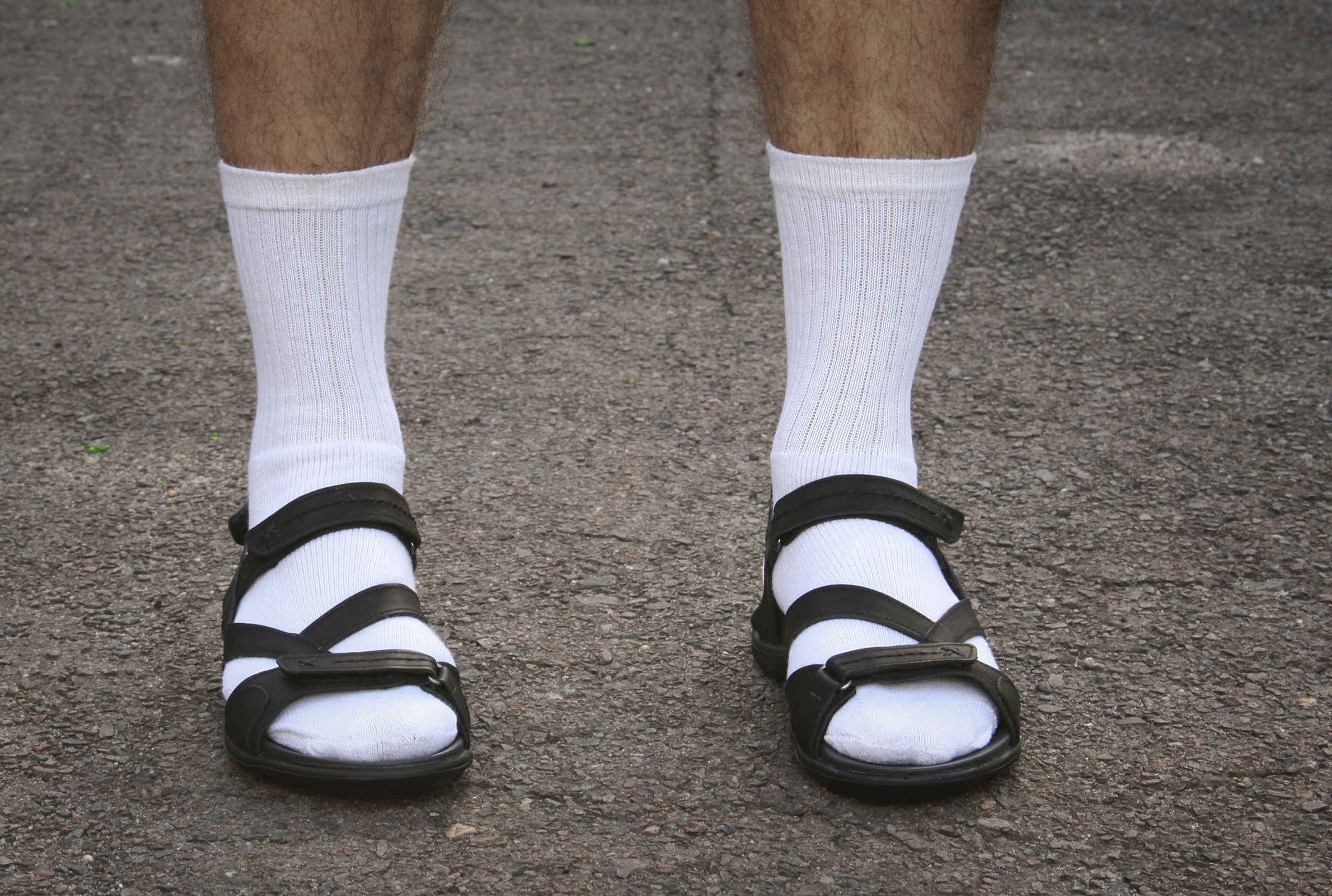 Socks and sandals to demonstrate lack of style