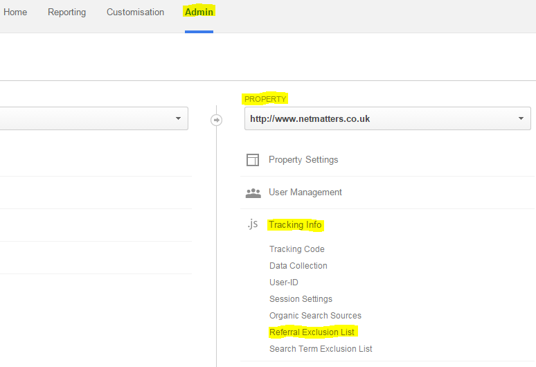 Google Analytics screenshot showing how to exclude spam referrers