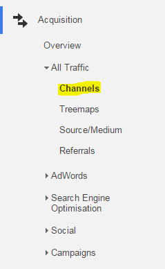 Google Analytics menu highlighting the Channels option