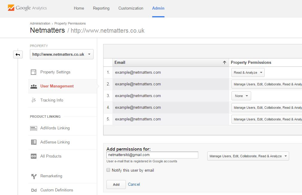 Google Analytics user management screen