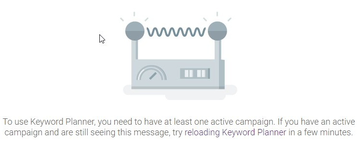 Error screen describing restrictions to Google Keyword Planner