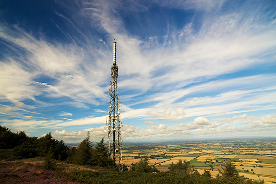 A communications tower in a rural area