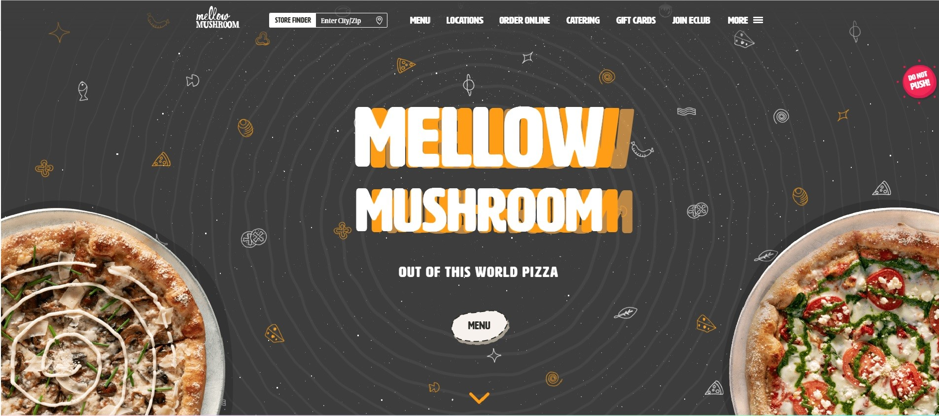 Landing page for Mellow Mushroom