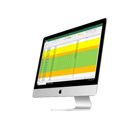 Computer displaying spreadsheets from Birchwood Energy
