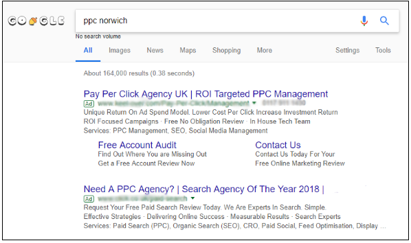 PPC advertisements on a Google search