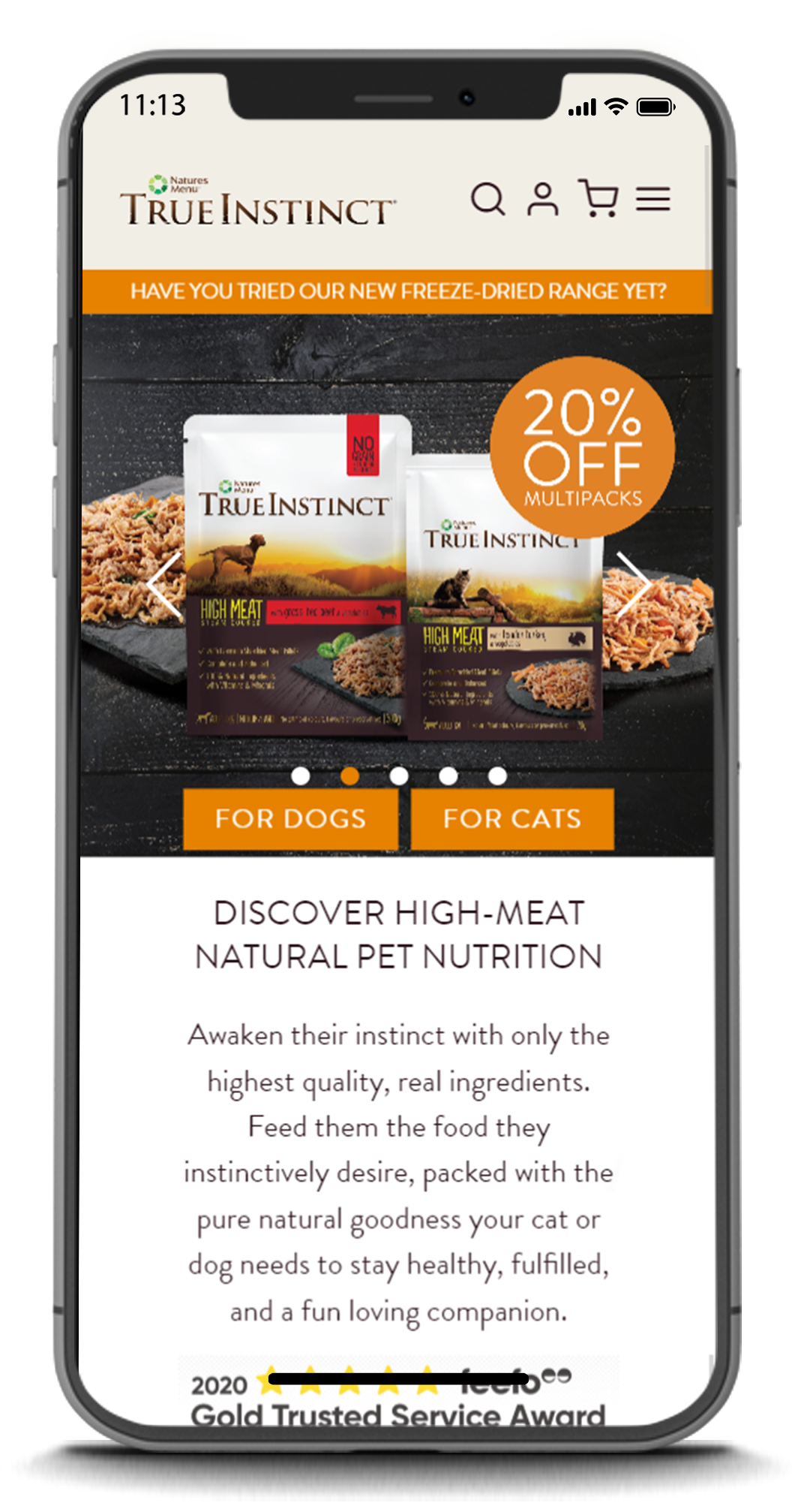 example of the True Instinct ecommerce website on a mobile device