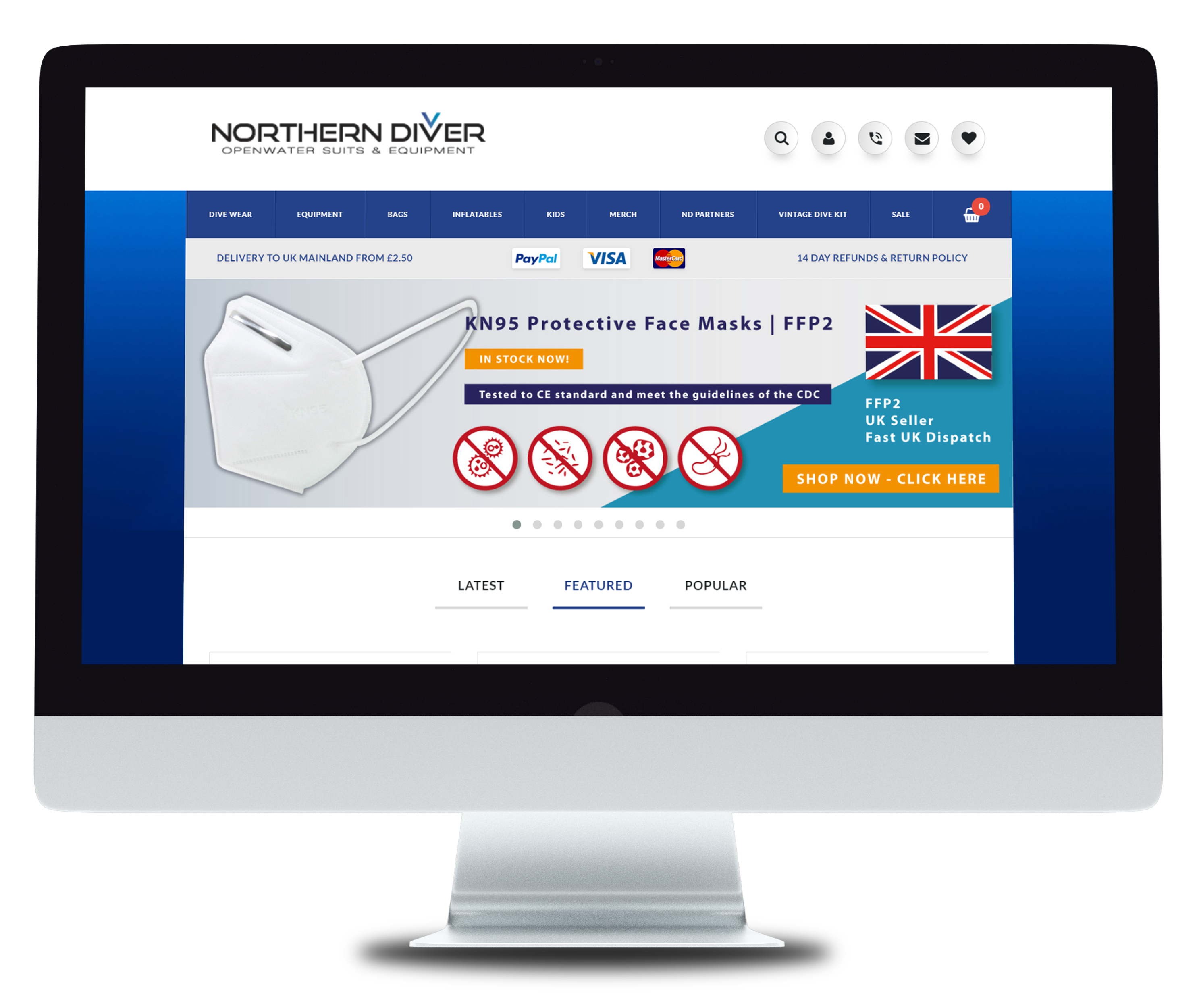 example of the Northern Diver ecommerce website on a desktop device