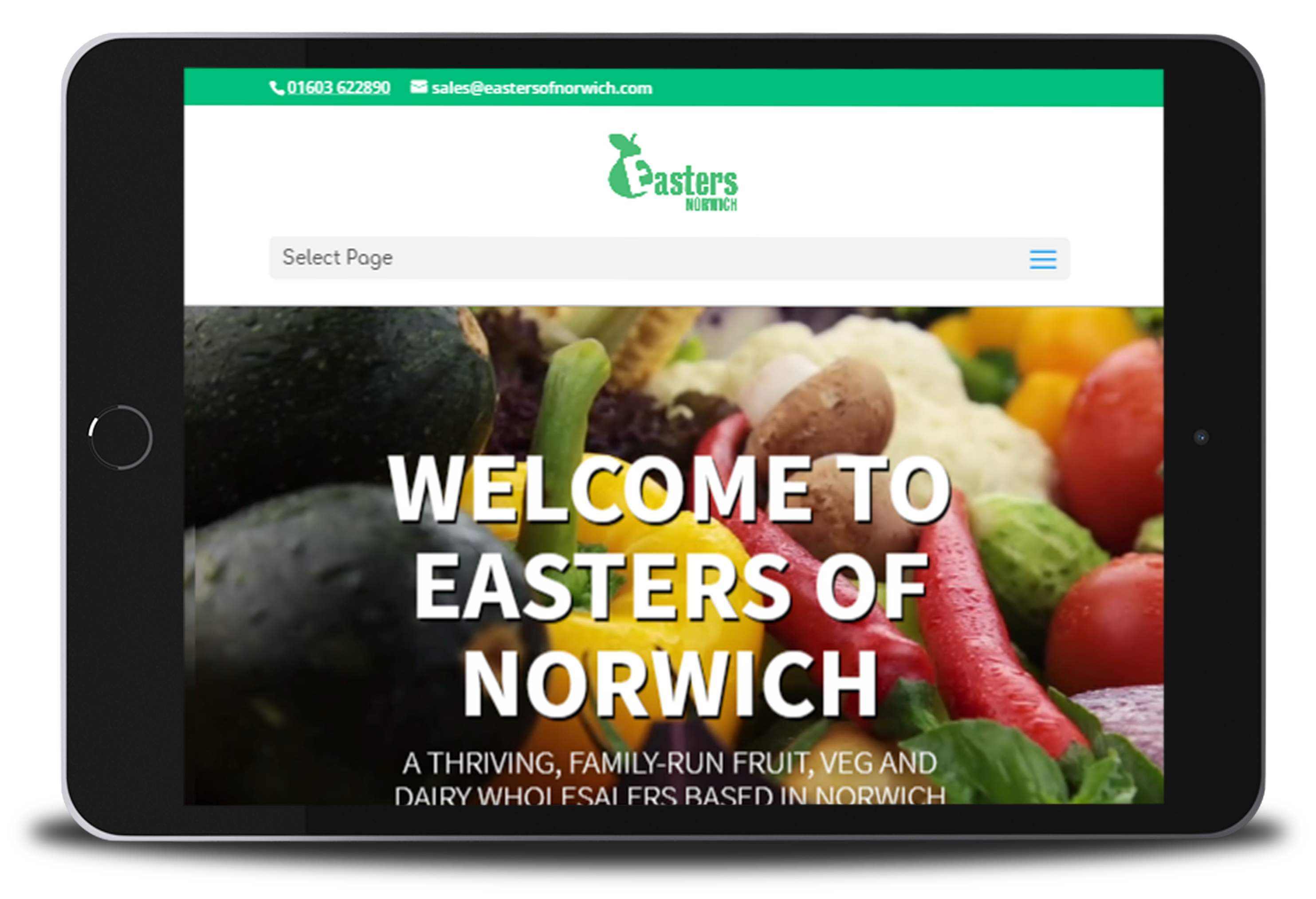 example of the Easters ecommerce website on a tablet device
